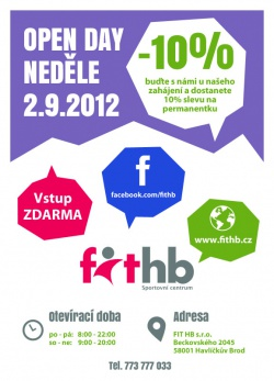 Přídte zdarma na Open Day do Fit HB